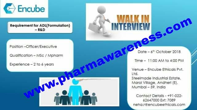 encube pharma walk in interview for adl   mumbai