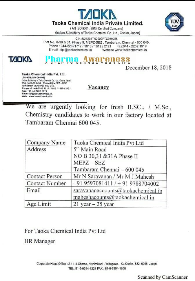 Taoka Chemical India Ltd Looking For Fresh B Sc/ M Sc Chemistry
