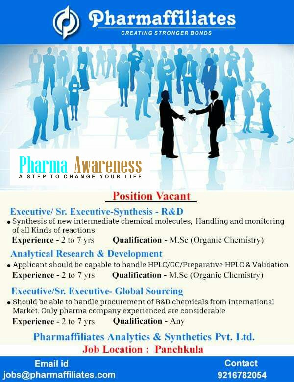 pharmaffiliates hiring for synthesis r u0026d and analytical r u0026d