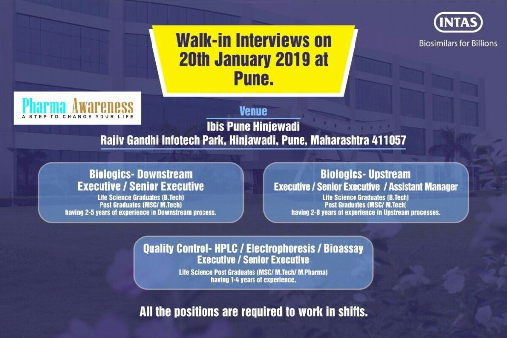 Intas Pharma Walk-In Interview at Pune For QC and