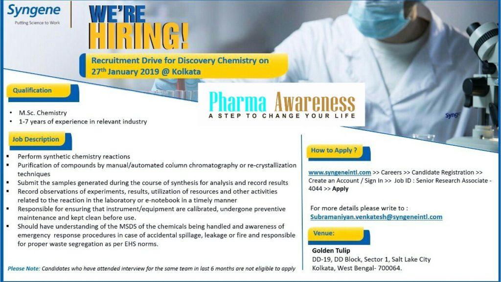 Syngene Recruitment Drive at Kolkata For M Sc Chemistry – PHARMA JOBS